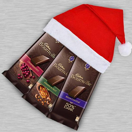 Delicious Cadbury Bournville Chocolate in Santa Clause Cap