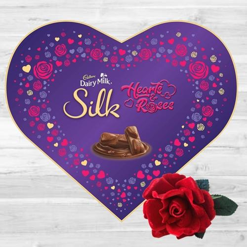 Delectable Cadbury Dairy Milk Silk Heart  N  Roses Gift Box