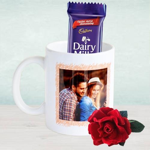 Amazing Personalised Photo Coffee Mug with Cadbury Dairy Milk Chocolates n Roses Trio