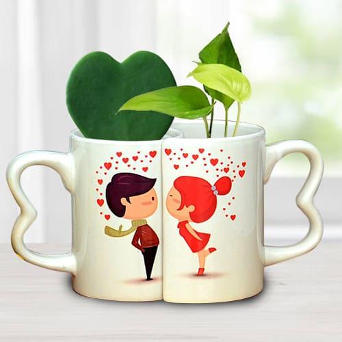 Lovely Couple Coffee Mug with Hoya Heart n Money Plant