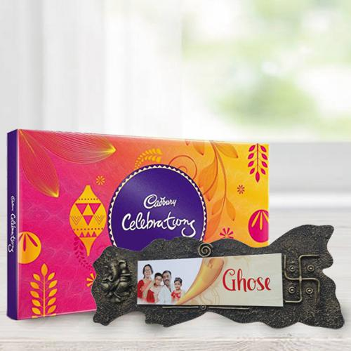 Wonderful Handmade Name Plate n Assorted Chocolates for Bday