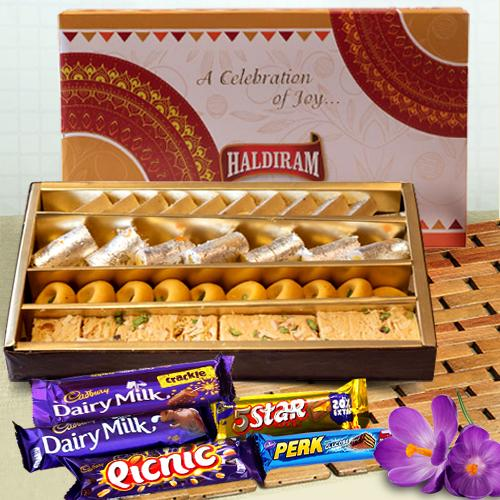 Assorted Haldirams Sweets with Cadbury Chocolates