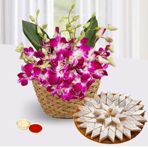 Orchids Basketand Kaju Katli