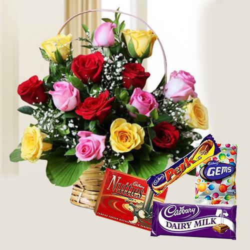 Cadbury Celebrations Pack with Mixed Rose Arrangement