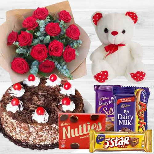 Chocos with Dutch Roses, Black Forest Cake N Teddy