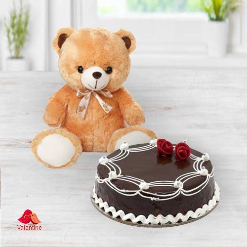 Yummy Chocolate Cake with Cute Teddy