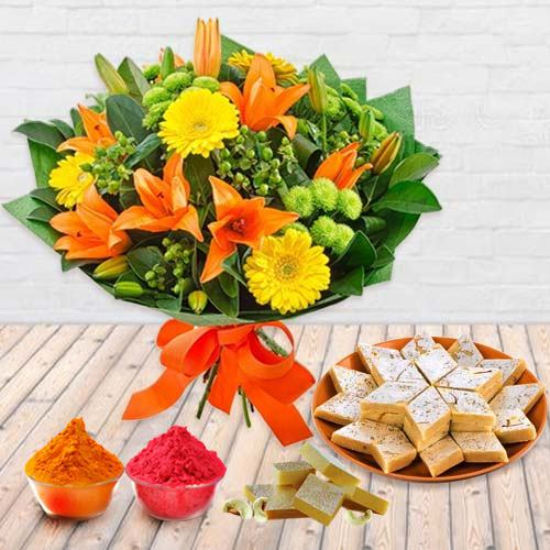 Beautiful fresh Seasonal Flower and delectable Kaju Barfi
