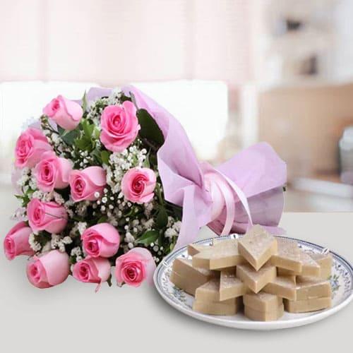 Exotic Pink Roses Bunch with Kaju Katli