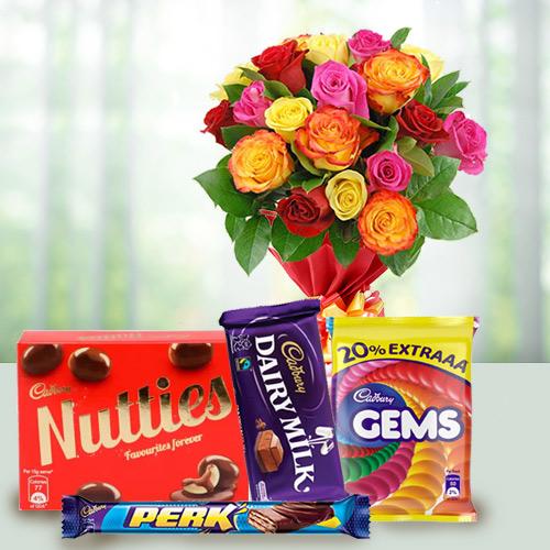 Assorted Roses Bunch N Cadbury Celebrations Pack