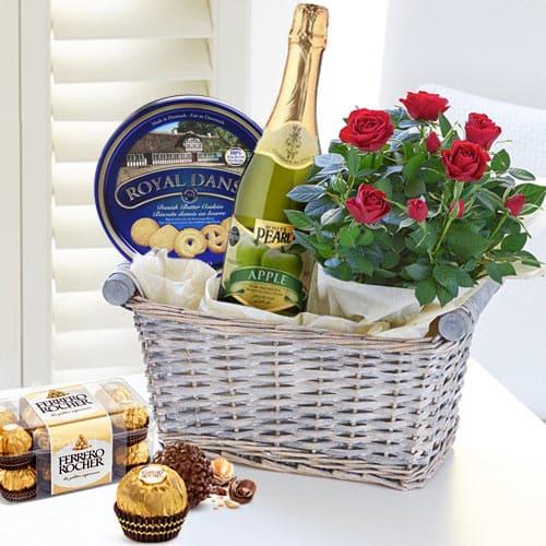 Tasty Treat of Gourmet Assortments with Rose Arrangements
