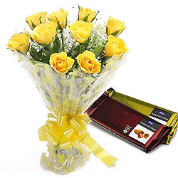 Radiant Yellow Rose Bouquet with Chocolates