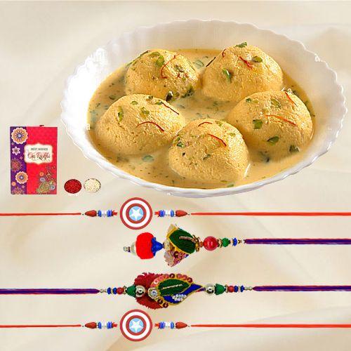 Delicious Rasmalai with Family Rakhi Set