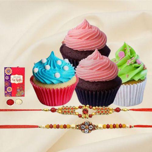 Cup Cakes with Designer Rakhi