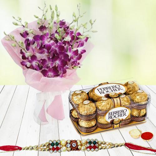 Ferrero Rocher Chocolates n Rakhi with Orchid Bouquet
