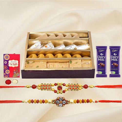 Assorted Sweets with Cadburys Chocolates n Rakhi