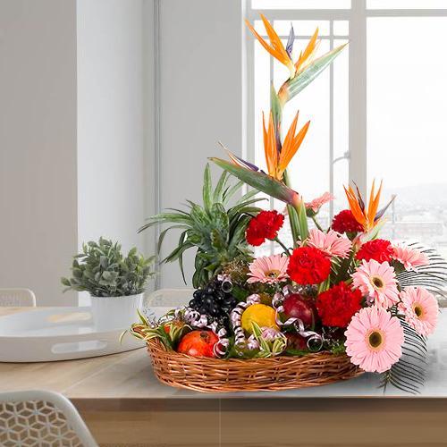 Seasonal Basket of Flowers with Bountiful 5 Kg. Fruits
