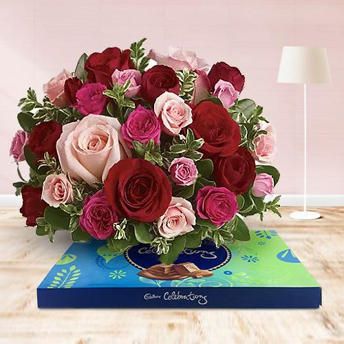 Yummy Assorted Chocolates and Pink N Red Roses Arrangement