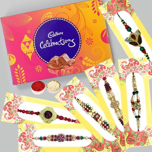 Traditional Set of 6 Rakhis with Cadbury Celebration (126 gm)