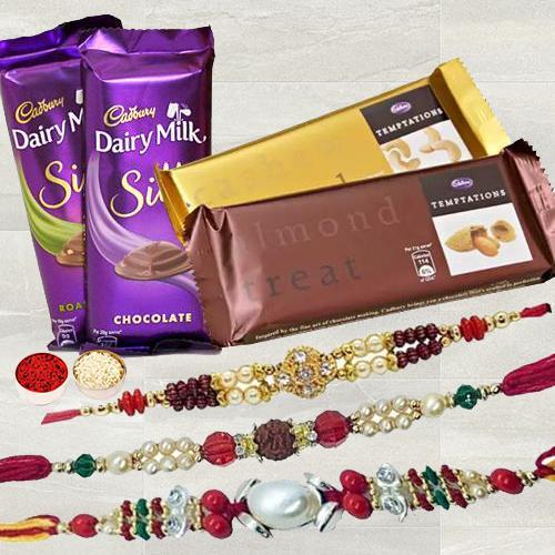 Amazing Trio Rakhi Set with 2 pcs Cadbury Temptation & 2 pcs Cadbury Dairy Milk Silk