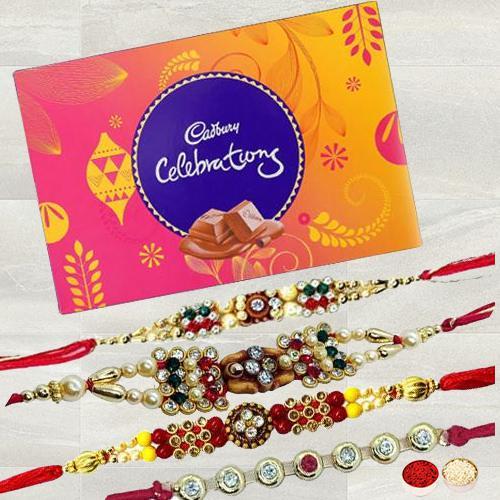 Exquisite Stone Studded Rakhi Set with Cadbury Celebration