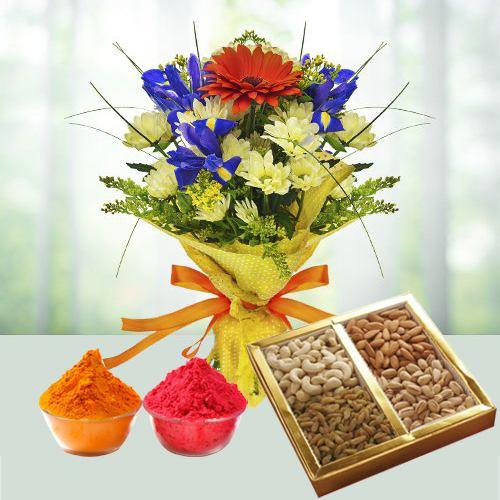 Radiant Seasonal Flowers with Dry Fruits