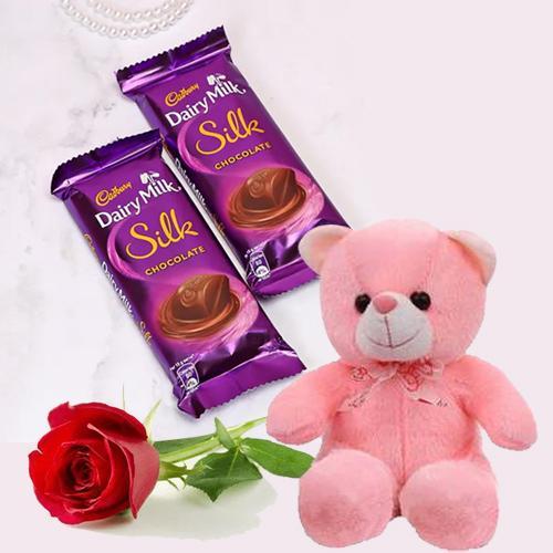 Love Combo of Cadbury Chocolate with Red Rose N Cute Teddy