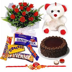 Stunning Raksha Bandhan Delight Gift of Cake, Roses, Soft Teddy and Assorted Cadbury Chocolates with Rakhi, Roli Tika and Chawal