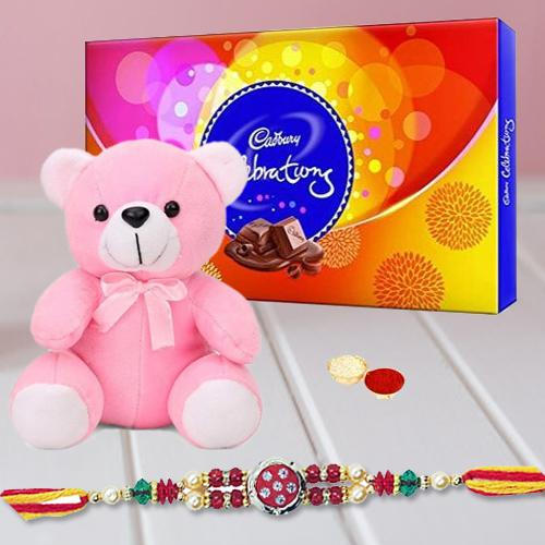 Sumptuous Display of Cadbury Celebration Chocolate and Lovely Teddy Bear with Free Rakhi, Roli Tika and Chawal for Raksha Bandhan Festival
