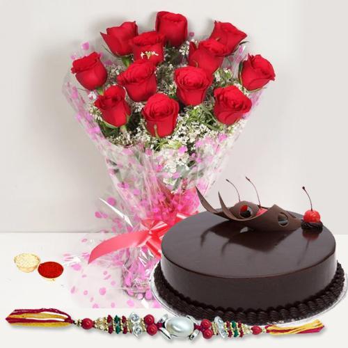 Astonishing Rakhi Wishes Gift of Red Roses Arrangement and Eggless Cake with Rakhi Roli Tika and Chawal