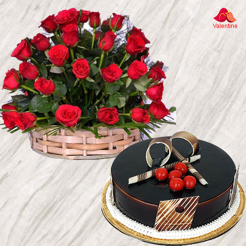 50 Dutch Red Roses Basket with Chocolate Cake.