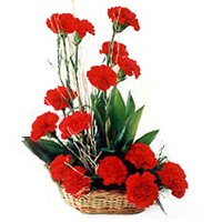 Attractive Red Carnations Basket