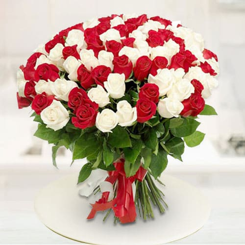 Wonderful Bouquet of Red N White Roses