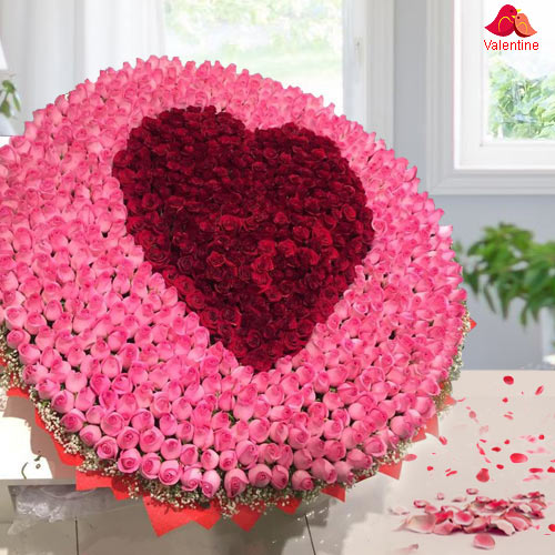 Charming 500 Rose Bouquet with Heart
