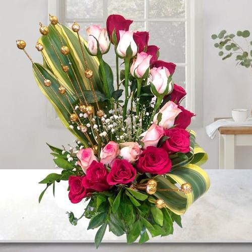 Romantic Red N Pink Rose Arrangement for Wedding Anniversary