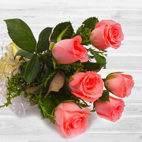 Beautiful 6 pcs Pink Rose Bouquet