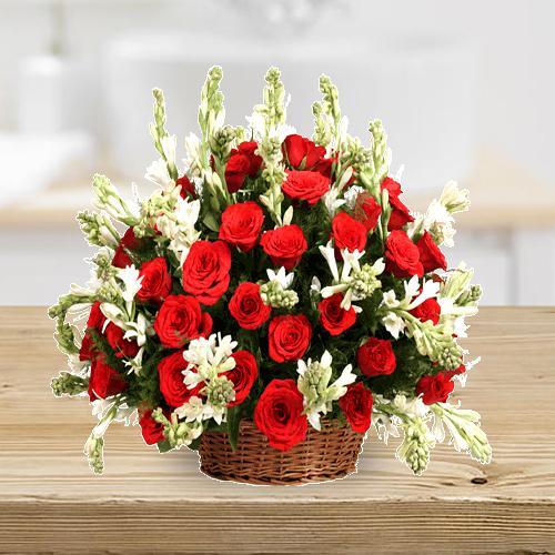 Precious Basket Arrangement of Red Roses n Tube Roses