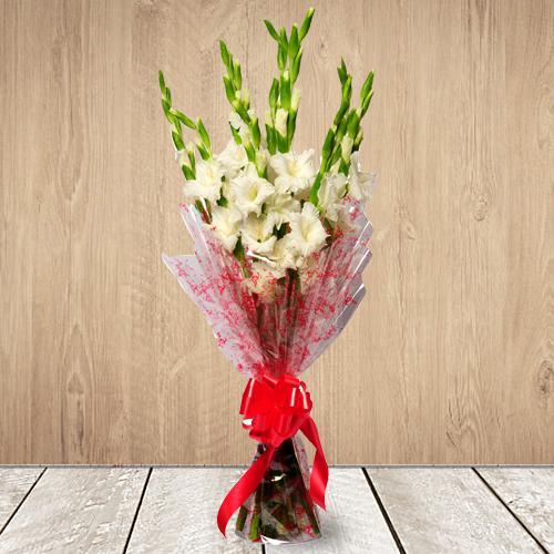 Gorgeous White Gladiolus Bouquet