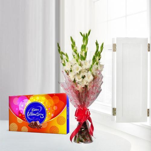 Captivating Gladiolus Bouquet with Cadbury Celebration Pack