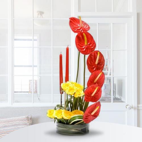 Designer Anthodium n Roses Arrangement with Candles