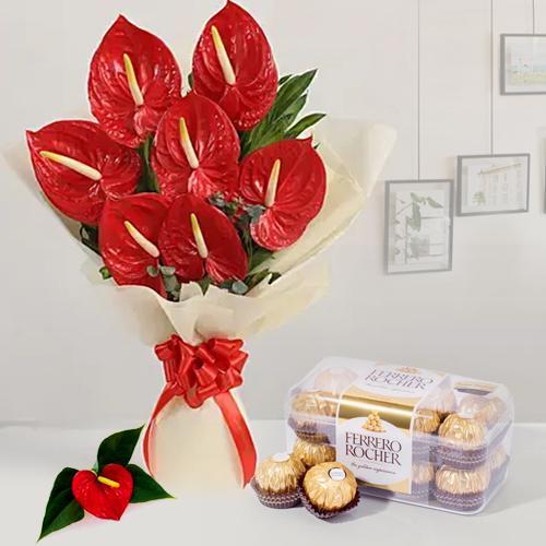 Alluring Anthurium Bouquet with Ferrero Rocher
