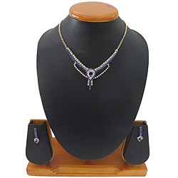 Traditional Charm Blue and White Stone Studded Necklace Set
