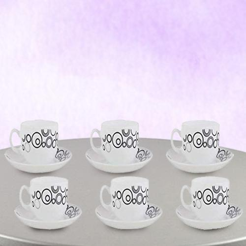 Striking LaOpala Opalware Misty Drop Cup n Saucer Set