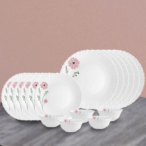 Lovely Cello Opalware Pink Lilac n White Dinner Set