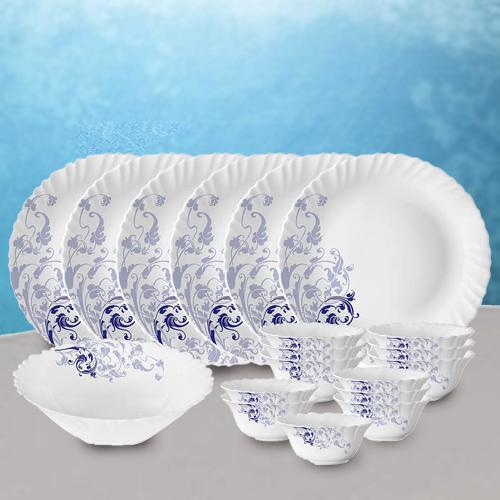 Amazing Larah by Borosil Blue Eve Silk Series Dinner Set
