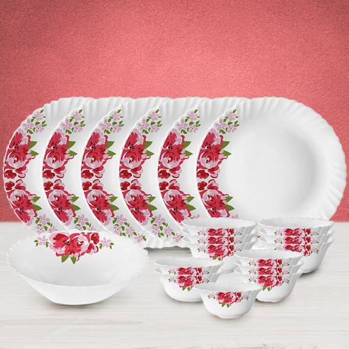 Exquisite Larah by Borosil Rose Red Silk Series Dinner Set