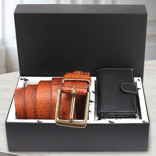 Wonderful Hide and Skin Mens Leather Card Holder and Belt<br>