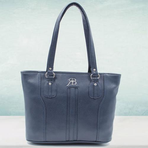 Fancy Ladies Leather Vanity Bag in Black Color
