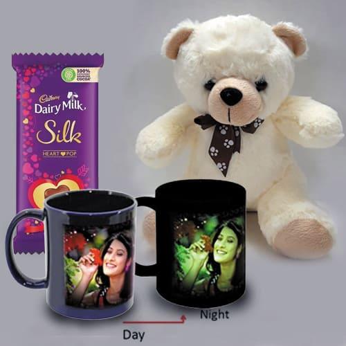 Wonderful Personalized Photo Radium Mug with Teddy n Heart Chocolates