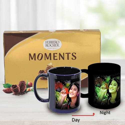 Mesmerizing Personalized Photo Radium Mug with Ferrero Rocher