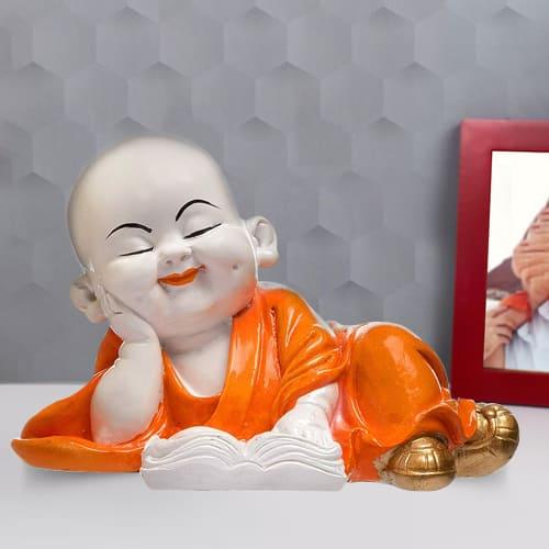Classic Monk Buddha Reading Book Polyresin Showpiece